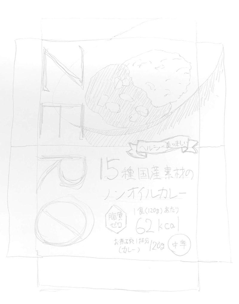 レトルトカレーのパッケージの手書きラフ